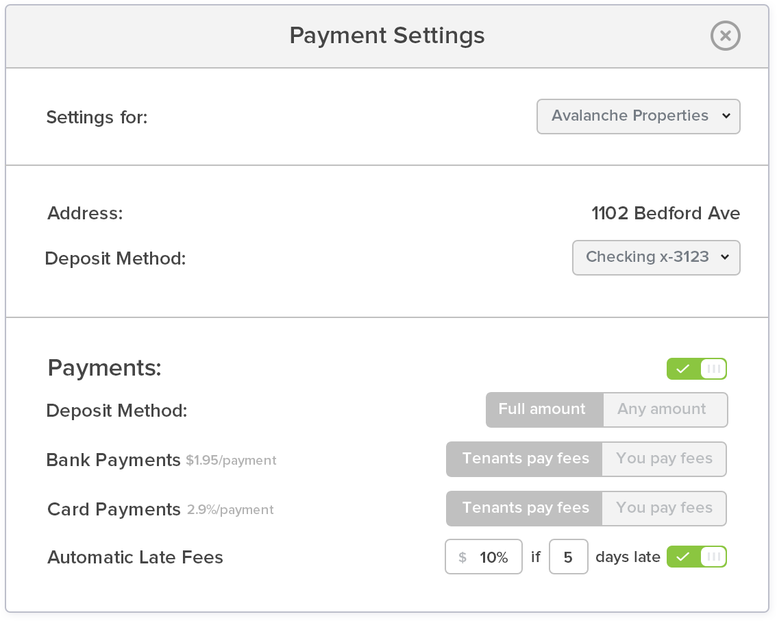 RentShare Late fees